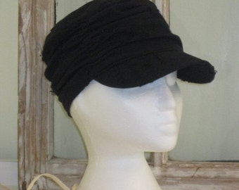Ladies Ruched Hat in Distressed Black Cotton Fabric with matching Brim