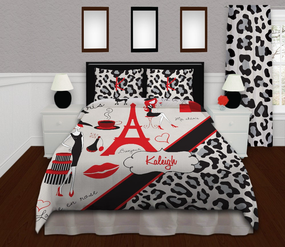 Red Gray Black Paris Theme Bedding Cheetah Print Bedding