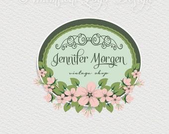 Floral  Logo Design Premade Photography Logo  Watermark Design, Premade Photography Logo - Wreath flowers logo Boutique  Logo - Watermark