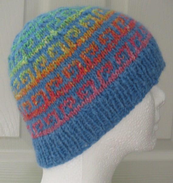 Blue rainbow swirl knit hat by KnitsByBridget on Etsy