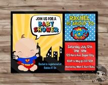 SUPERHERO Baby Shower Invitation, Superhero Invite, SuperHeroes Baby Shower Superman Spiderman Batman, Superhero Digital Printable, JPG File
