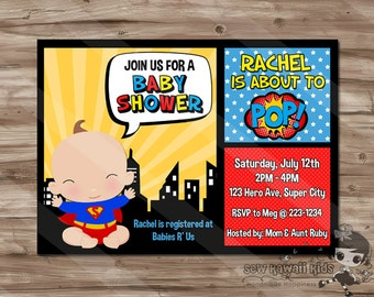 baby shower invitation superhero invite superheroes baby shower