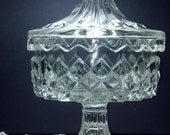 Wonderful Diamond Pattern Large Pressed Glass Candy Dish with saw tooth edges.