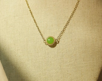 Olive Green Necklace, Lime Green Disc Necklace, Olive Green Resin Disc Charm, Lime Green Resin Jewelry For Her