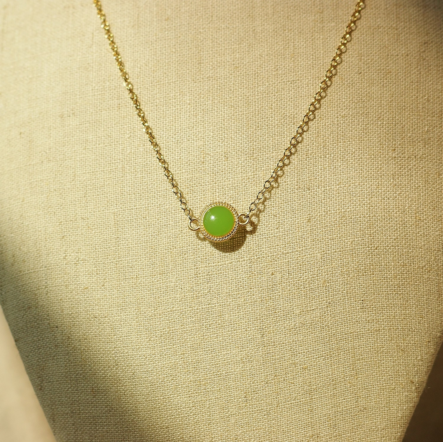olive green necklace lime green disc necklace olive green