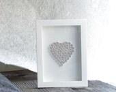 Paper Quilled: White Heart Shape Handmade Art For Valentine's Day, Wedding, Birhday Gift, Frame Wall Art – 8x6