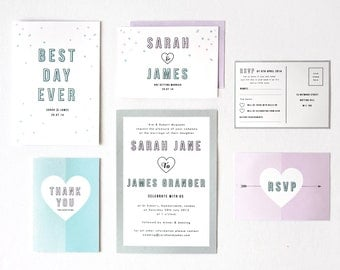 DIY Customisable and Printable Wedding Stationery Set - save the date, invite, RSVP front and back, order of service,  thank you card