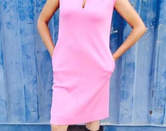 Vintage 60s Pink Mod Shift Dress M