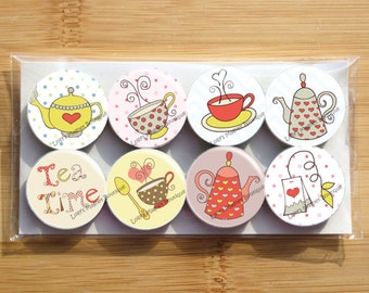 Tea set , tea party cute Magnets - Set of 8 magnets - 1 inch each - wrapped in cello bag - Strong magnets