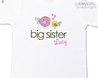 Big sister t-shirt - adorable whimsical bird - pregnancy annoucement shirt - sweet birds
