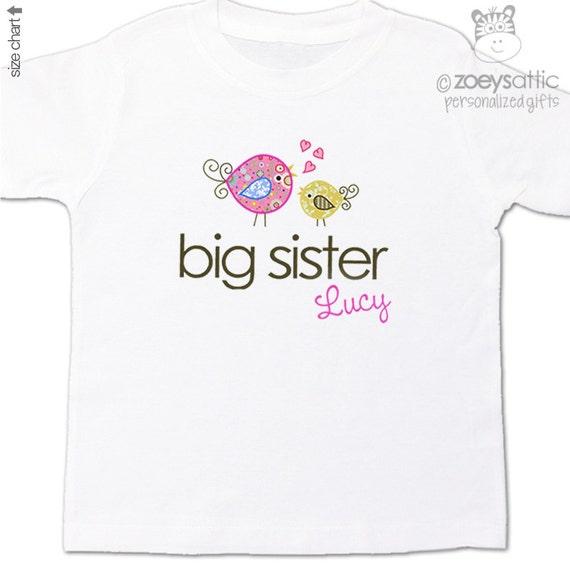 Big sister t-shirt - adorable whimsical bird - pregnancy annoucement shirt - sweet birds