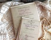 Romantic Elegant Vintage Linen and Faded Flowers Wedding Invitation Handmade by avintageobsession on etsy