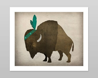 FEATHER BISON Buffalo Baby  Nursery Graphic Art Illustration Giclee Print Signed Native American Indian