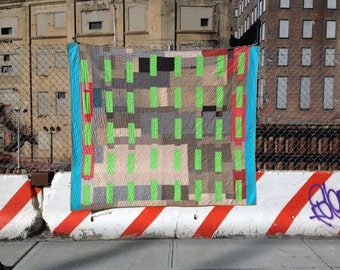Full size quilt: Bedford Armory quilt   full-size improv modern quilt recycled upcycled handmade grey gray neon green red neon blue Copy