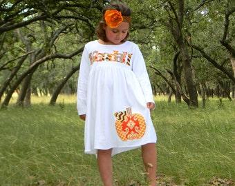Fall Pumpkin Dress, Personalized Dress with Pumpkin Appliqué, Long Sleeved 3-6m to 8yrs