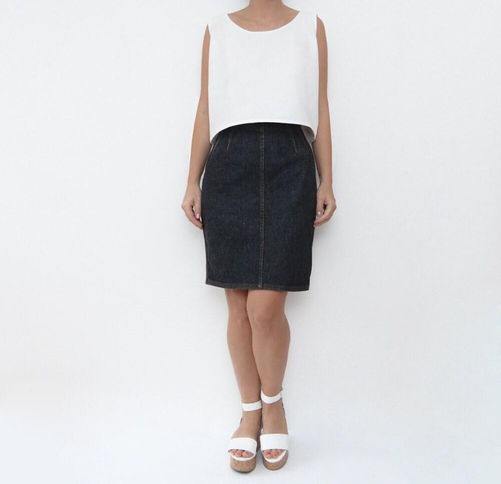 vintage black denim pencil skirt small medium by