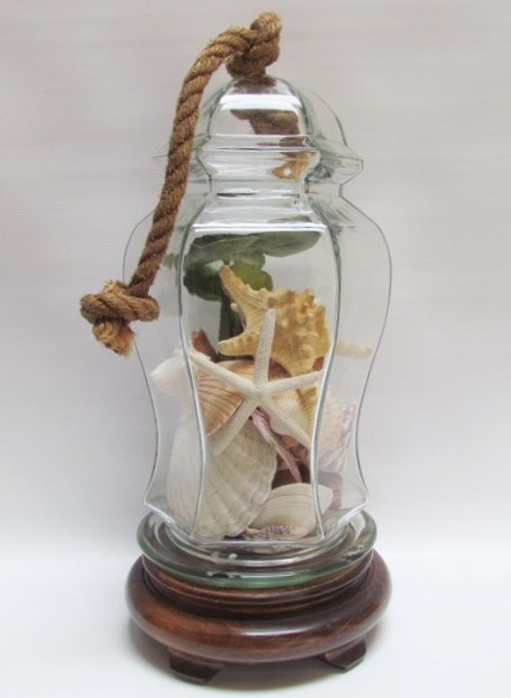 "Cloche Dome Glass Rope Knot Handle On Pedestal Handcrafted Salvaged Repurosed Parts Tall Terrarium-""Ships International"" Email For Rates"