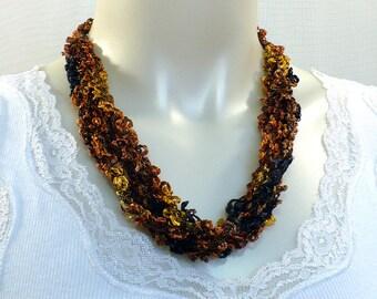 Brown Boucle Ladder Yarn Necklace: Handmade Yarn Necklace, Soft Fiber Necklace, Crochet Jewelry, Vegan Necklace, Ready to Ship