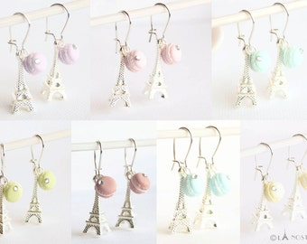 Tiny Macaron Earrings Macaroon Jewelry Pastel Earrings Miniature French Sweets Clay Food Jewellery