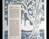 Papercut Ketubah  NYC Skyline