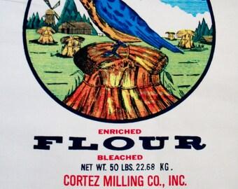 "Large Flour Sack - ""Blue Bird"""