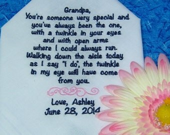 Embroidered Grandfather of the Bride Wedding Handkerchief - 50 words
