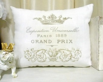 French Pillow, French Crown Pillow 15 x 11, Ivory Linen Throw Pillow, Cottage Chic Pillow