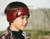 Fire Dragon ear warmer headband - (snake, reptile, lizard, dinosaur boy head warmer)