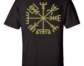 Vegvisir Viking tshirts Asatru Runes - Magical Runes Tee Viking Guidance. A Icelandic Asatru Handprinted Tshirts. The Viking Compass Rune.