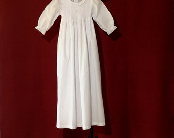Elaborately hand embroidered and smocked christening gown with long sleeves for boys - in french vintage design - heirloom quality