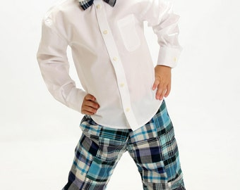 Boy's Adorable Patchwork Madras Plaid Pants - M7