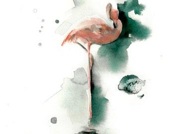 Flamingo Watercolor Print, Pink Flamingo Watercolor Painting Art Print