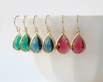 Emerald Green Sapphire Blue Ruby Garnet Crystal Drop Earrings Crystal Earrings, Birthstone Jewelry