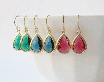 Emerald Green Sapphire Blue Ruby Garnet Crystal Drop Earrings Crystal Earrings, Birthstone Jewelry, Sapphire Dangle Earrings