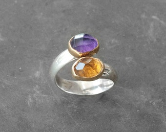 Twist Amethyst and Citrine Gold Statement Ring, 22k Gold and Sterling Silver Handmade Ring, Size 7 Cocktail Ring, Two Birthstone Ring