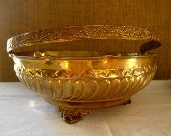 ORNATE VINTAGE BRASS Basket Solid Brass Made In India Footed Brass Basket Imprinted Brass Basket With Swing Handle