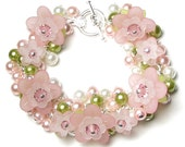 Apple Blossom Flower Swarovski Crystal Pearl Cluster Silver Charm Bracelet, Pink, Green, White, Dainty Cherry Blossom, Spring Floral Jewelry