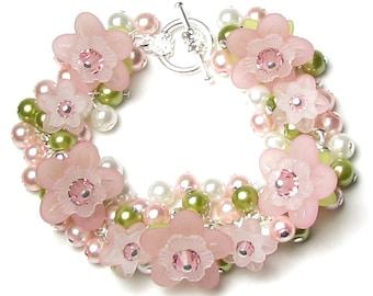 Apple Blossom Flower Swarovski Crystal Pearl Cluster Silver Charm Bracelet, Pink, Green, White, Dainty Cherry Blossom, Spring Floral Jewelry