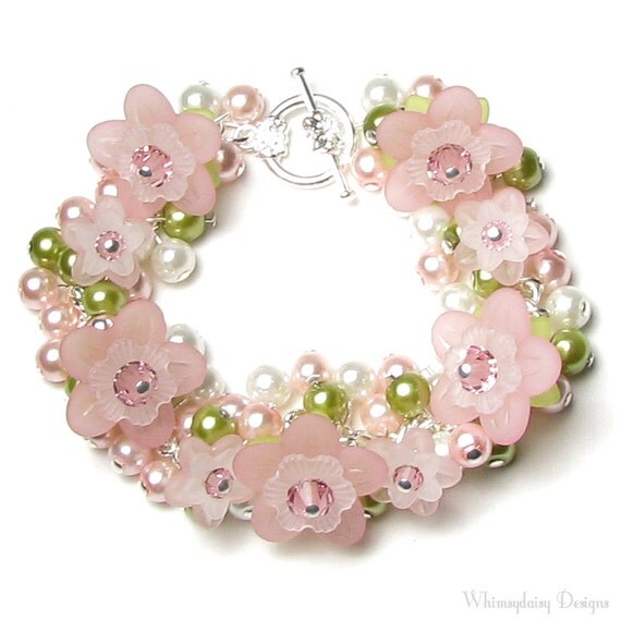 Apple Blossom Flower Swarovski Crystal Pearl Cluster Silver Charm Bracelet in Pink Green White Dainty Spring Floral Cherry Jewelry for Women