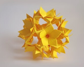 Paper home decor - Yellow flower ball  - Origami paper sculpture - kusudama - Easter Mothers day gift - anniversary gift - decoration