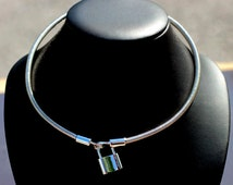 BDSM Day Collar-Sterling Silver - Coiled Choker Collar Necklace - Sterling Silver Padlock Clasp