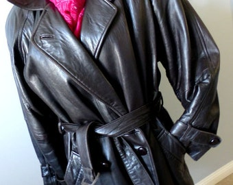 Fashion Leather Trench Coat -Size Small  Vintage 80's Dark Brown Wrap Coat - Made in Canada Quality Soft Leather Belted Short Winter Coat