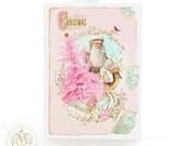 Pink, Christmas card, Santa Claus, pink Christmas tree, deer, reindeer, vintage Santa, pink holiday card, pink Christmas, Christmas decor