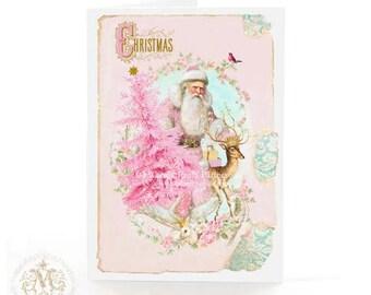 Christmas card with pink Christmas tree and vintage Santa, deer, reindeer, holiday card