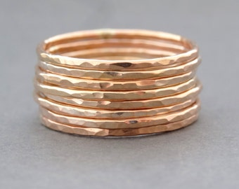 Rose Gold Ring super slim stackable ring - gifts for her - thumb ring - midi ring or knuckle ring