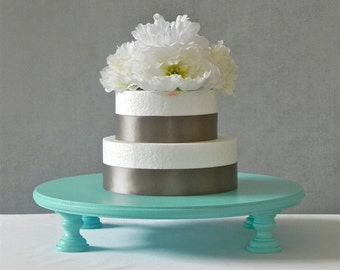 "14"" Cake Stand Cupcake Stand Robins Egg Blue Teal Blue Rustic Blue Wedding Shower E. Isabella Designs Featured In Martha Stewart Weddings"