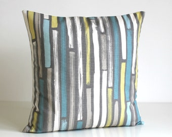 Stripe Pillow Cover, Stripe Cushion Cover, Stripe Pillow Sham, Pillow Case, Accent Pillows, Slipcase - Random Stripes Powder Blue