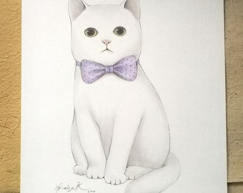 ON SALE 50% Discount, Original Pencil Art, Whimsical Illustration of a White Kitty Cat, Original Drawing for Cat Lovers