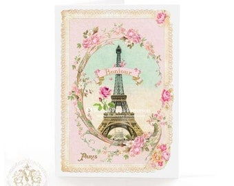 Eiffel Tower card, Bonjour Paris, French pink romantic travel greeting, blank inside