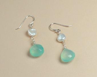 Blue Chalcedony, Keshi Pearl Earrings, Beach Wedding Earrings, Beachy Jewelry, Beach Bride, Bridesmaid Gifts, Aqua Chalcedony, Drop Earrings